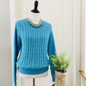 LILLY PULITZER Turquoise Cotton Cable Knit Sweater